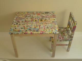 decoupage mesa y silla