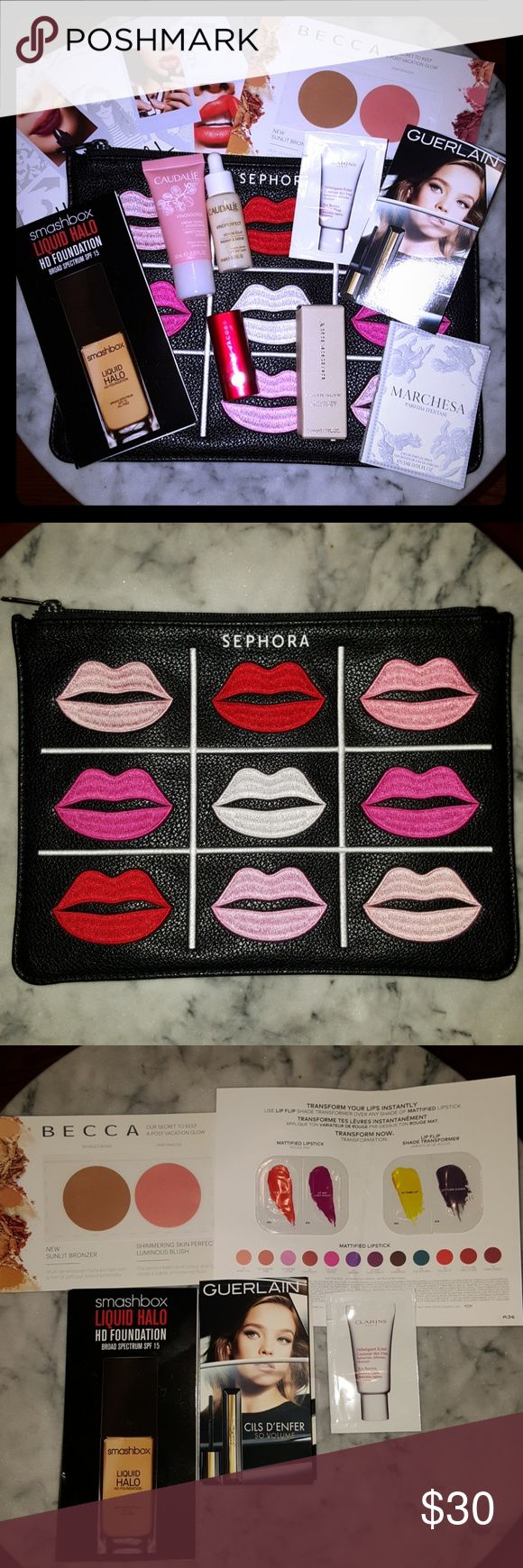 Sephora Lip Clutch With Regular And Deluxe Samples Beautiful sephora leather makeup clutch with lip design. Includes regular and deluxe samples, including Guerlain mascara, Smashbox liquid halo foundation, Becca bronzer and blush, Estee Lauder lipstick samples, Burberry fresh glow base, Clarins eye revive, Caudalie creme and serum, Marc Jacobs lipstick in So Rouge. Sephora Makeup