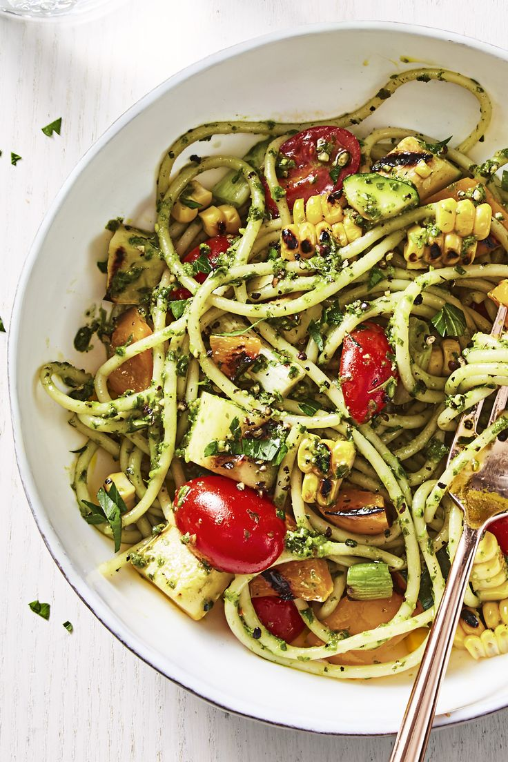 Loaded with all your favorite summer veggies, this pesto pasta is light and easy on warm nights.