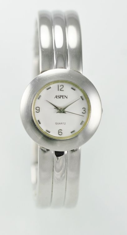 Aspen Watch Womens Stainless Steel Silver Water Resistant Battery White Quartz