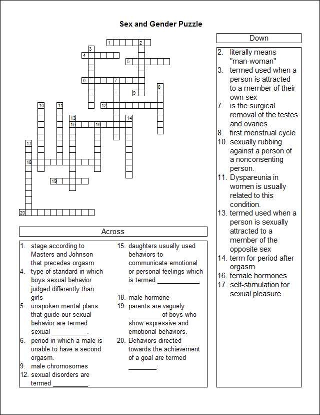 Sex And Gender Study Guide Crossword Puzzle Crosswords