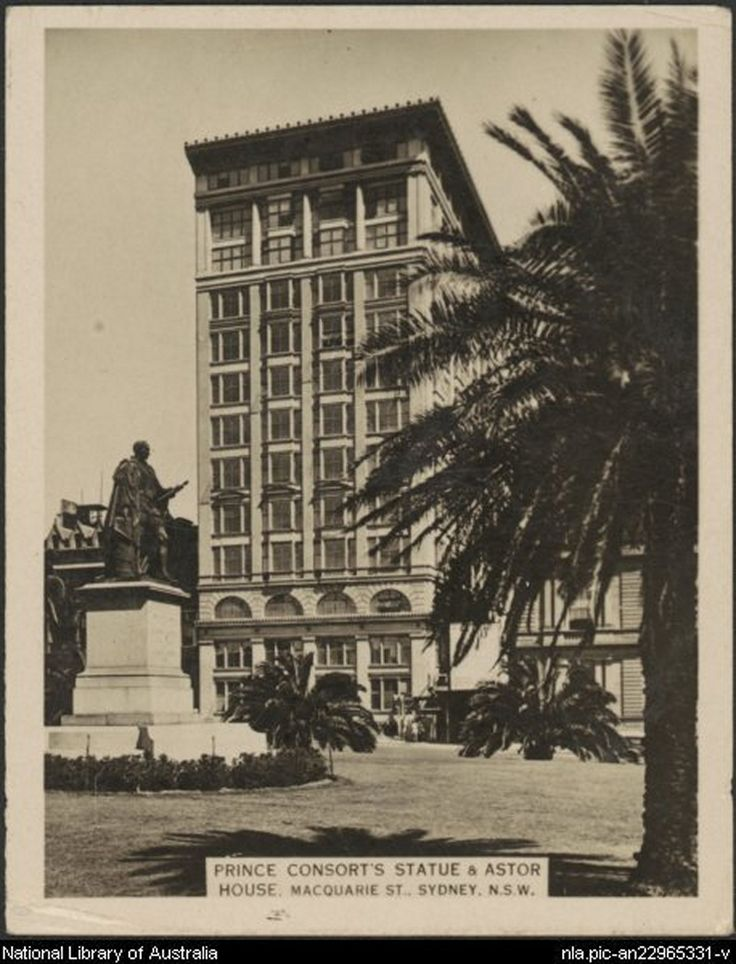 Prince Consort's statue & Astor House,Macquarie St,Sydney in 1925.Photo from Dictionary of Sydney.A♥W
