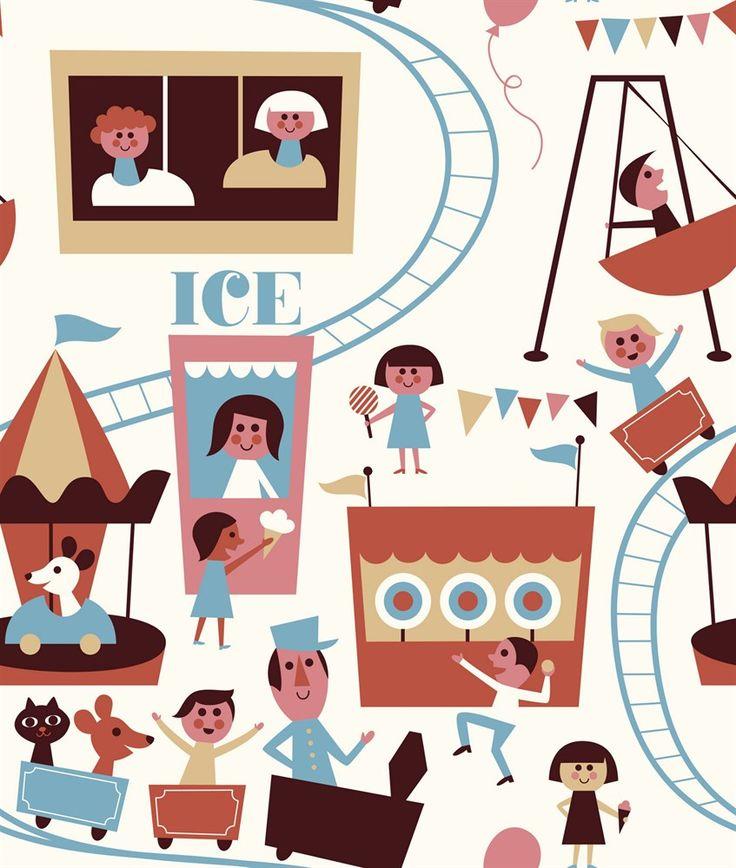 Ingela P Arrhenius, Fototapet, Tivoli white Tapeter Tapeter & Vægdekorationer Børneværelser på nettet hos Lekmer.dk
