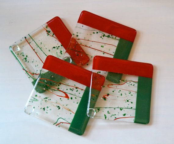 Festive Holiday Fused Glass Coasters