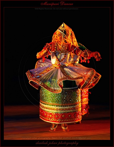 Manipuri Dancer-A tribal dance of the same name is Southeern Asia.