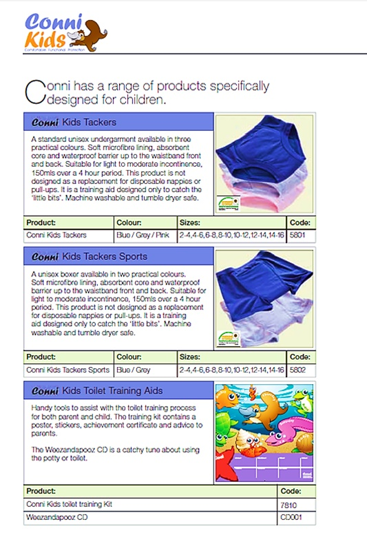 Kids Reusable Diaper Undergarments and Potty training  Western Cape, South Africa    Contact Conni-Western Cape (Pty) Ltd.  Adult Incontinence Products  Western Cape, South Africa  Call: 081 772 6015  Email: JP.vZ@Conni.co.za