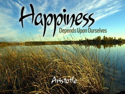 Download this Free Wallpaper with Inspirational Quote by Aristotle - Happiness depends upon ourselves