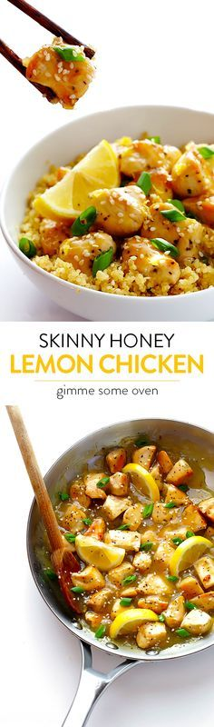 This Skinny Honey Lemon Chicken recipe is quick and easy to make, full of flavor, and much lighter than traditional fried lemon chicken! | gimmesomeoven.com