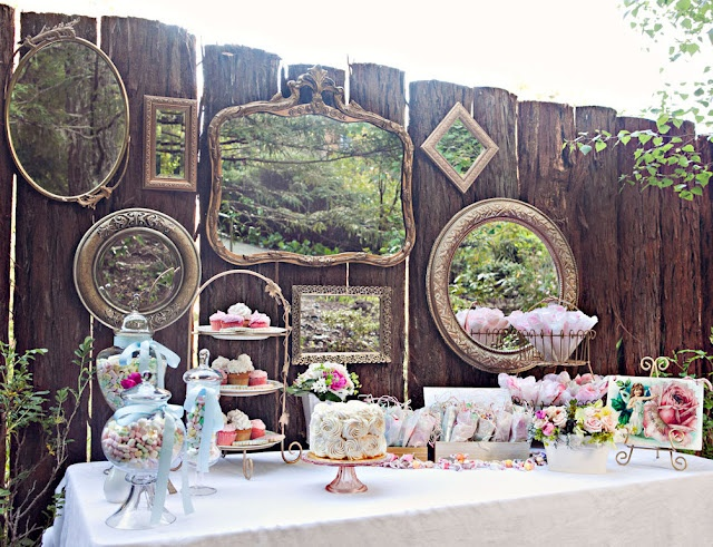 Love the use of mirrors & a backdrop with vintage appeal: Vintage Mirror, Sweet Tables, Vintage Teas Parties, Vintage Parties, Bridal Shower, Parties Ideas, Parties Desserts, Vintage Inspiration, Desserts Tables