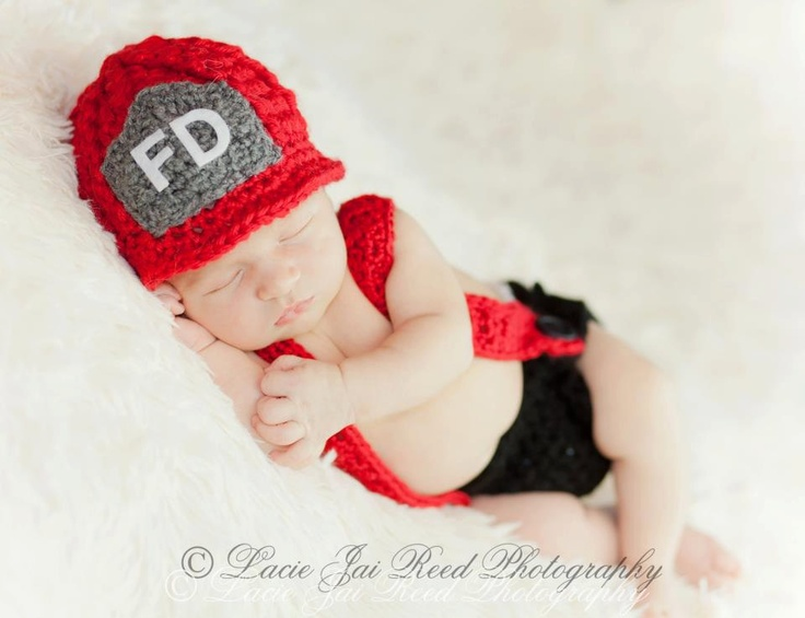 Crochet Fireman Beanie Hat with Suspenders & Diaper Cover/Photography Prop/Baby Shower Gift/Halloween Costume. $37.99, via Etsy.