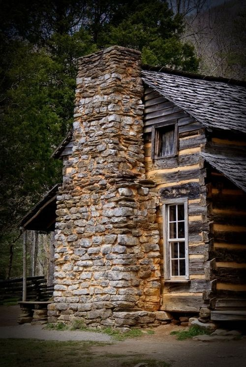 Log cabin with AMAZING fireplace! on We Heart It.
