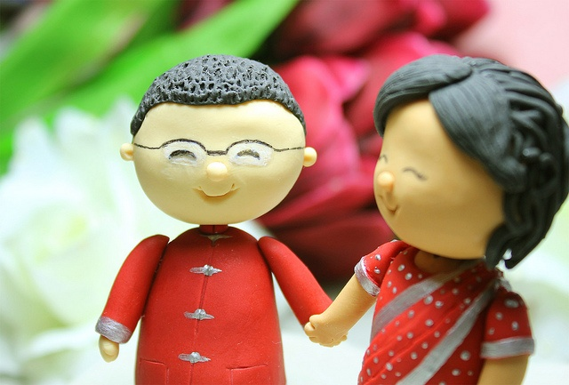 Indian bride, Chinese groom wedding cake topper