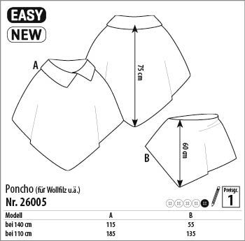 Poncho - 26005 - Stoff & Stil | Nähen und Lustiges | Pinterest | Ponchos