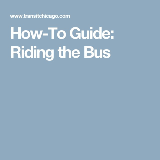 How-To Guide: Riding the Bus