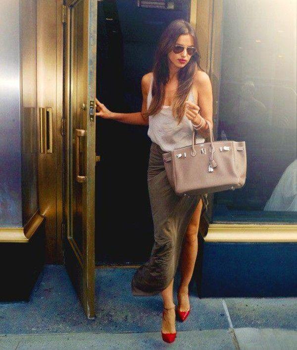 Irina shayk - maxi skirt with split & loose cotton camisole...x