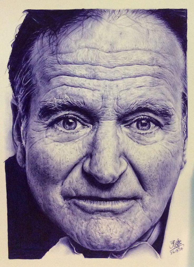 Ballpoint pen drawing of Robin Williams by chaseroflight on deviantART
