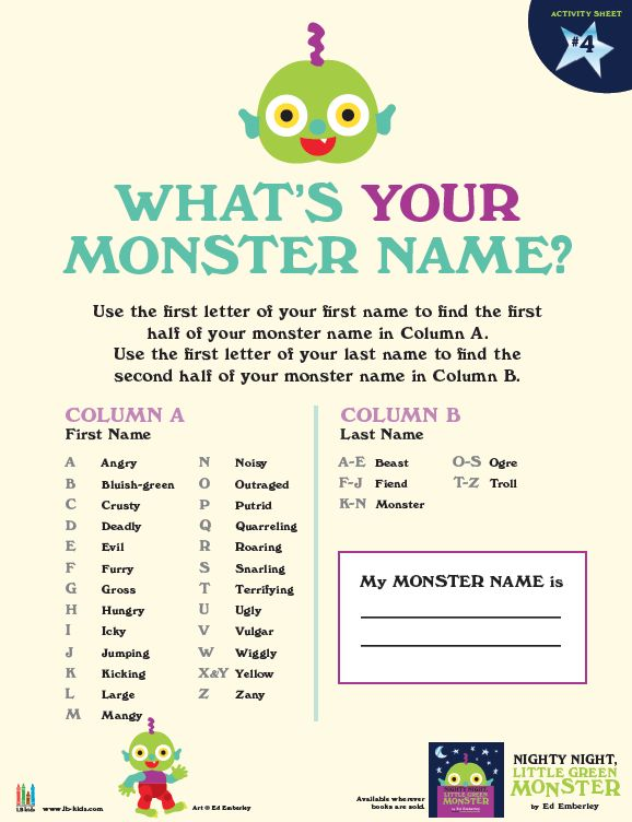 Snarling Beast [Nighty Night, Little Green Monster by Ed Emberley]