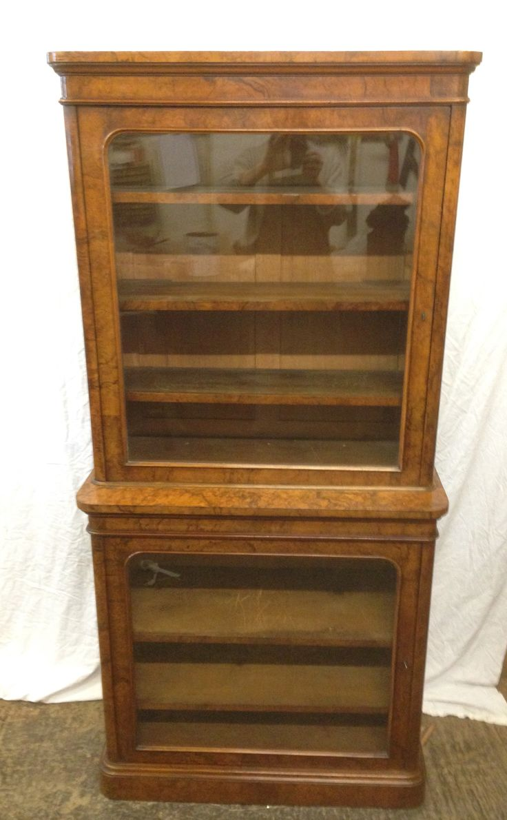 Victorian figured walnut glazed bookcase