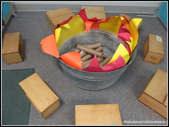 A sample classroom campfire using TP tubes, construction (or tissue) paper, and an old tin tub.  Tell jokes, share stories, or sing songs around the campfire.