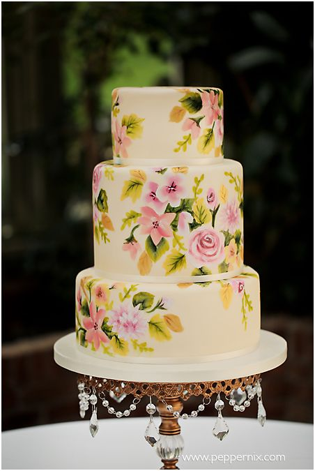 Hand painted floral round cake.
