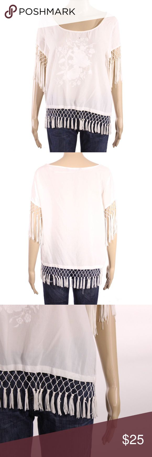 Zara Short Sleeve Floral Decal Fringe Blouse Zara short sleeve semi sheer blouse with floral decal on front and fringed hems. Small hole near the front bust, shown in pictures.  Fits true to size.  Shown on a size 4/6 mannequin.  In gently used condition, no flaws.  Measurements available upon request.  All orders shipped same or next business day! Zara Tops