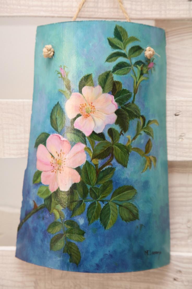 M s de 25 ideas fant sticas sobre flores pintadas en for Pintura para tejas