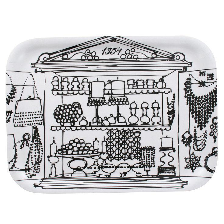 Aarikka - Cooking & Table setting : Aarrekkaappi tray, black and white