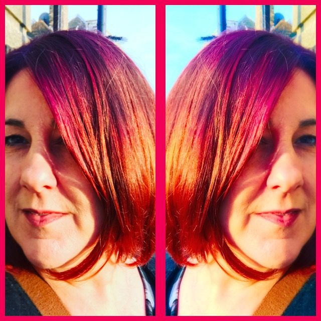 Multicolored bob Red and copper hair Layered funky bob