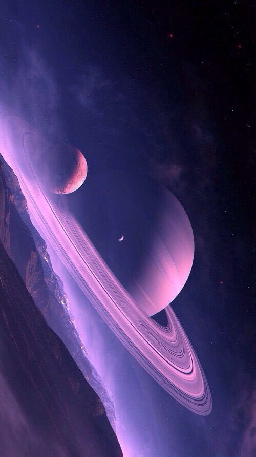 Mysterious and epic background Space and big planets his mother Color …