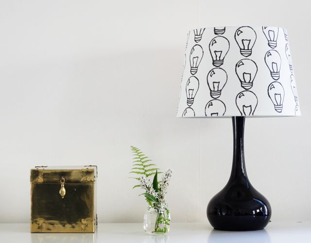 Waiting for that next bright idea gets a little bit better with this graphic lamp. Decorate a plain white shade with a black Sharpie with comic-like lightbulbs. (via Jade and Fern)