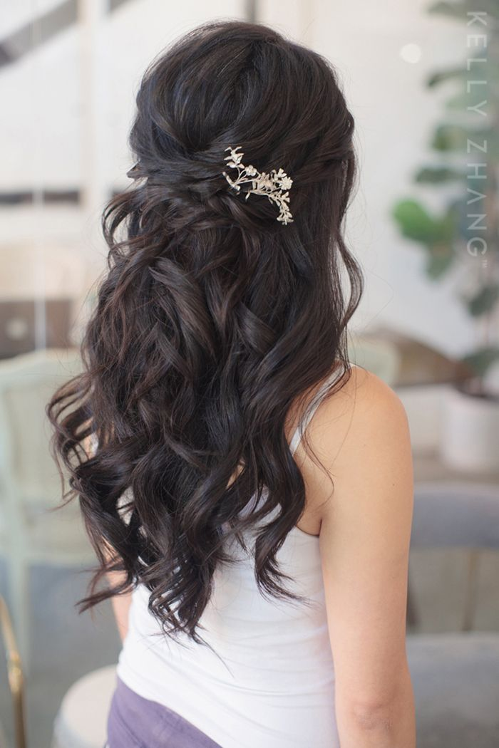 Half Up Do With Embellishment Asian Wedding Hair Hair Styles Long Hair Wedding Styles
