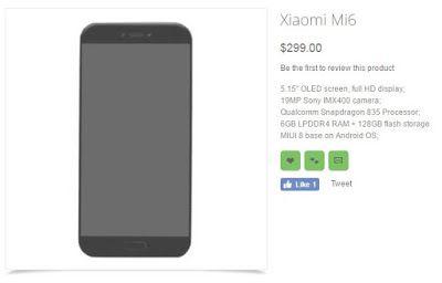 Belum Resmi dirilis, Xiaomi Mi6 sudah dipajang di Toko Online