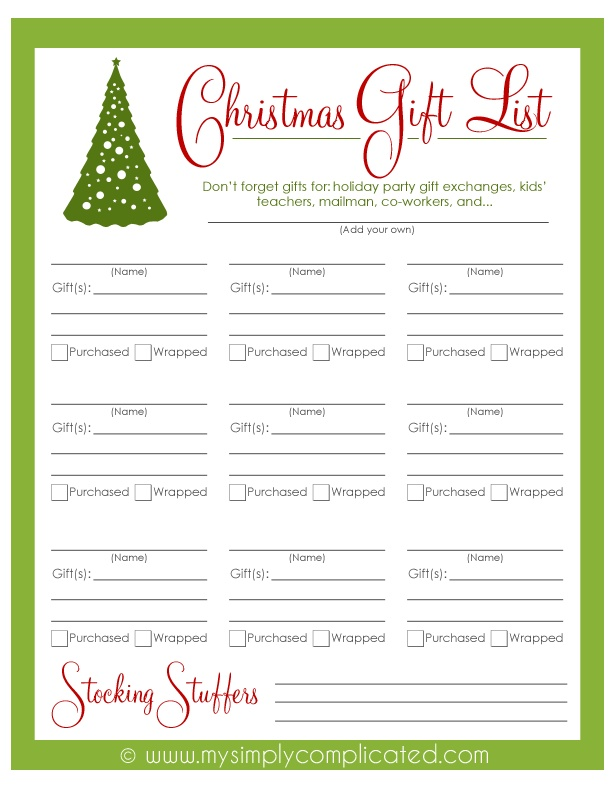 Download this free printable Christmas Gift List to keep track of all of your Christmas gift ideas and purchases!