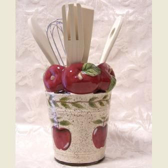 Country apple kitchen decor apple utensil holder for Apple decoration kitchen