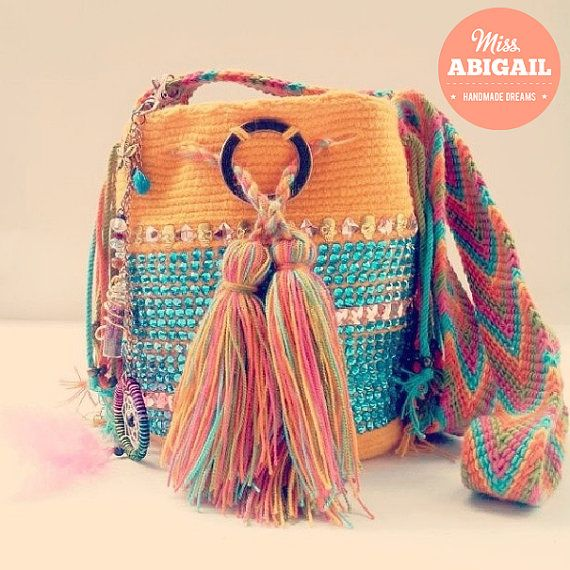 Adorned bohemian Wayuu mochila Colombia by MissAbigailShop on Etsy, $95.00