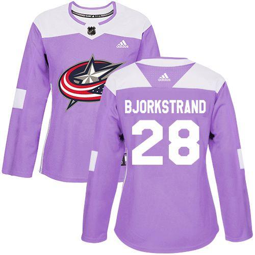 Oliver Bjorkstrand Columbus Blue Jackets Adidas Women's Authentic Hockey Jersey - NHL #28 Purple Fights Cancer Practice