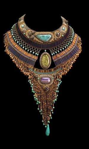 Single-Strand Collar Necklace with Seed Beads and Gemstone Beads