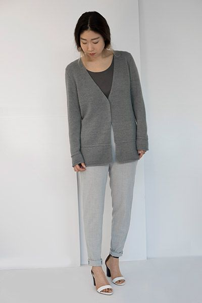 Shibui Knits   Lineal, knit with 2 strands of Shibui Cima held together throughout.