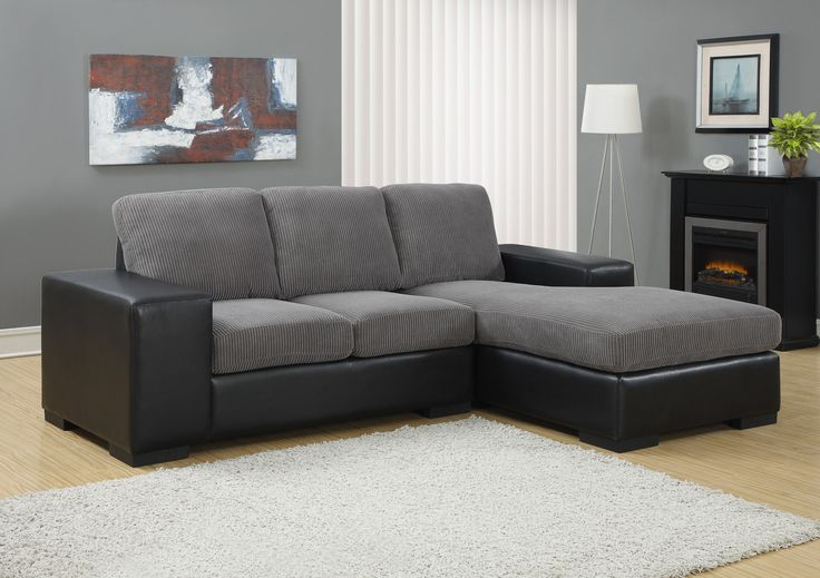 Charcoal Grey Corduroy / Black Leather-Look Sofa Lounger