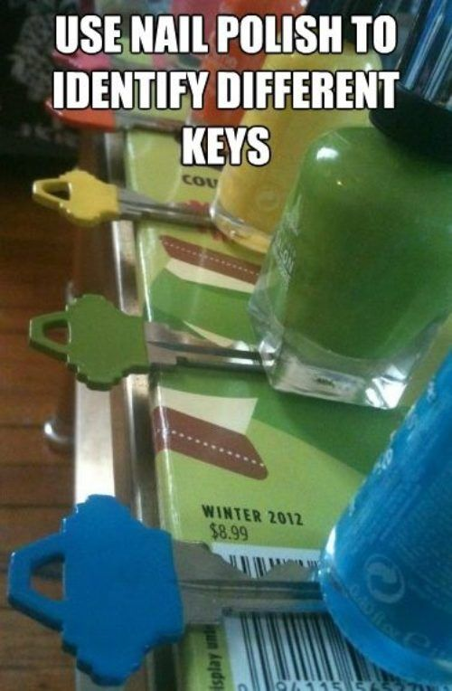 Use nail polish to identify different keys. Cheaper than having colored keys specially cut! Via The Chive