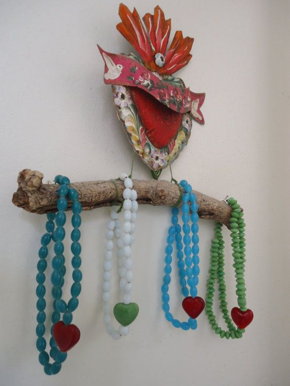 Glass Bead and Red Heart Choker Necklace in various by CustardFox, $23.00