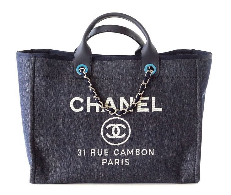 Chanel Bag Deauville Tote 2017 Navy Leather Top Handle Sold Out