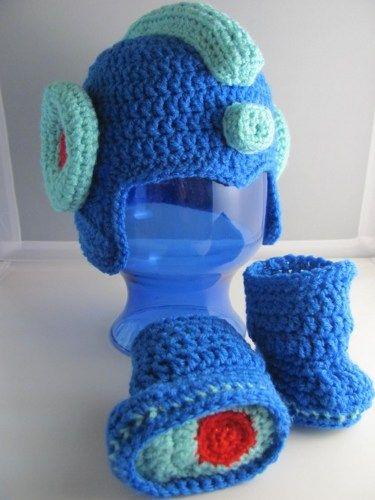 Mega Man, aka Rock Man Hat and Bootie set, Infant sizes 0-12 months | HatsandSpats - Crochet on ArtFire