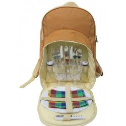 PicnicHappy Picnic Backpack for 2 Person, Brown Color, with Plates, Cutlery Set