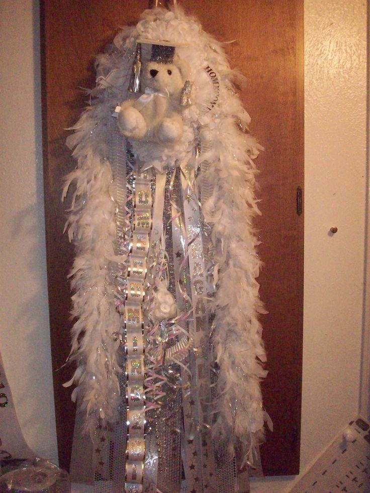 Homecoming Mums - Senior Mum for Homecoming - White and Silver Senior Grad Bear Homecoming Mum - Special Event Floral Designs