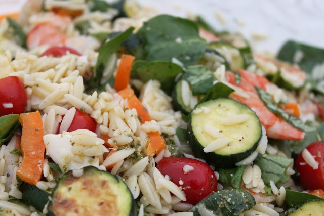 Orzo, Shrimp and Summer Vegetable Salad with Pesto Vinaigrette | Eat ...