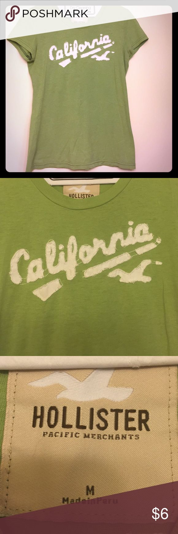 """Hollister Soft Tee for summer! Super soft green women's tee shirt says """"California"""" on the front and has the number """"9"""" on the back. Tops Tees - Short Sleeve"""