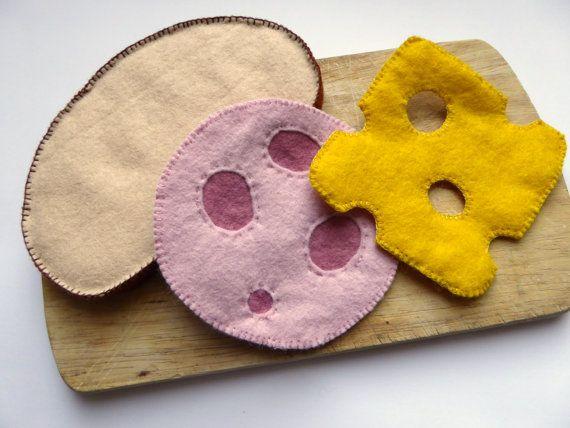 Filz Scheibe Brot mit Wurst und Käse von mimimade1 auf Etsy