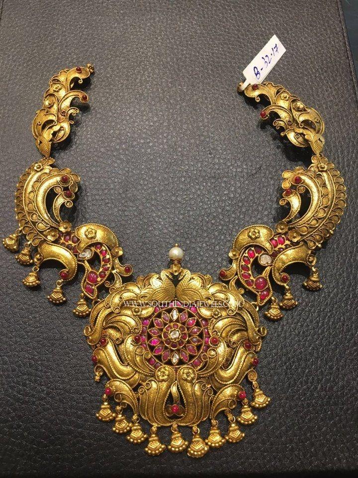 Gold Antique Necklace Designs 2017, Gold Antique Necklace Models 2017.