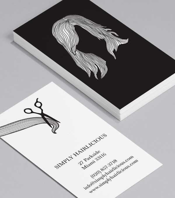 Hairstyles Black: with these standard Business Cards for hairdressers, hair stylists and salons, getting a trim has never seemed so appealing! #moocards #businesscard